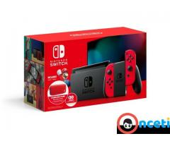 NEW Nintendo Switch Bundle with Red Joy Cons Carrying Case & eShop Credit