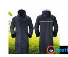 Men Waterproof Raincoat Lightweight Casual Hooded Rain Coat Long Jacket