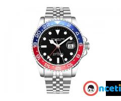 Stuhrling Aqua-Diver 3968 Swiss Quartz Silver Bracelet Black Dial Watch