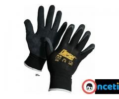12-PACK SAFETY AND WORK GLOVES. latex coated grip