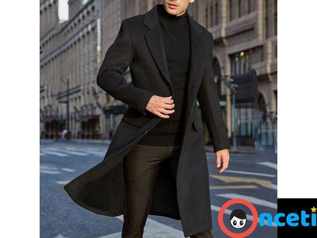 Men Winter Wool Fleece Fur Jackets Trench Coat - 1/4