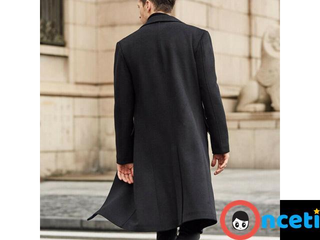 Men Winter Wool Fleece Fur Jackets Trench Coat - 2/4