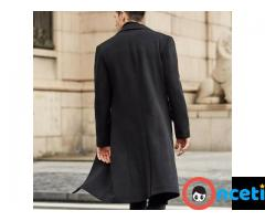 Men Winter Wool Fleece Fur Jackets Trench Coat