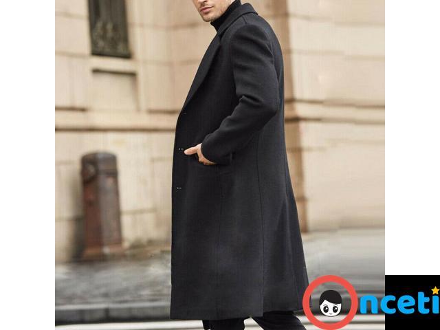Men Winter Wool Fleece Fur Jackets Trench Coat - 3/4