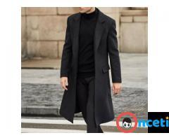 Men Winter Wool Fleece Fur Jackets Trench Coat - Imagen 4/4